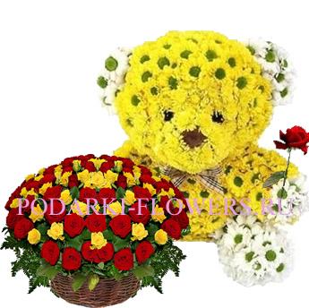Мишка из цветов + корзина из цветов