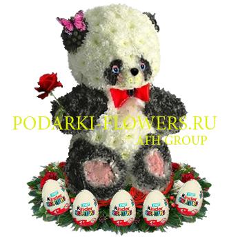 Панда из цветов + киндер сюрпризы