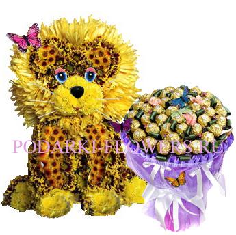 Лев из цветов + букет из конфет