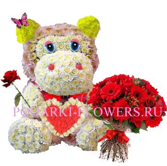Бегемот из цветов с сердцем + букет роз