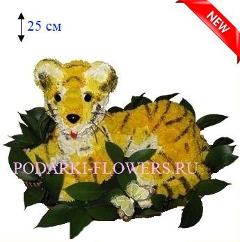 Тигр из живых цветов