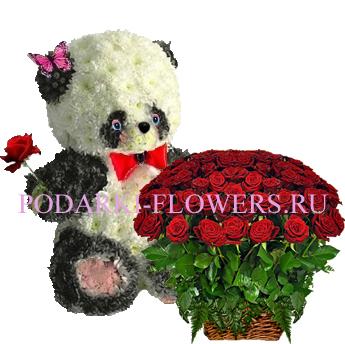 Панда из цветов + корзина из цветов