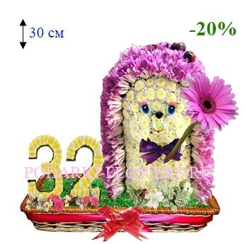 Ежик из цветов с цифрами