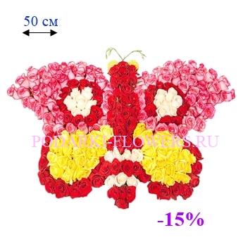 Бабочка из живых цветов