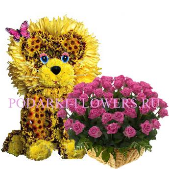 Лев из цветов + корзина из цветов