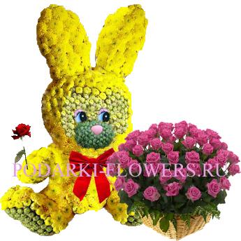 Зайчик из цветов + корзина из цветов