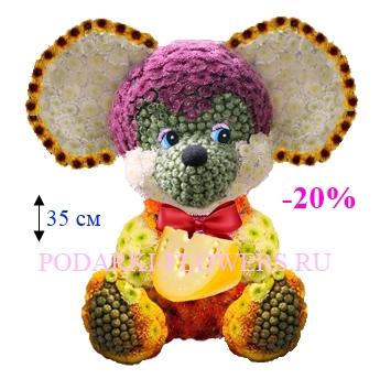 Мышка из живых цветов