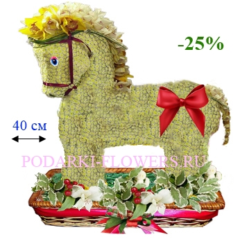 Лошадка из живых цветов