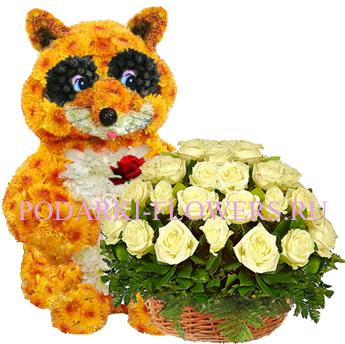 Енот из цветов + корзина из цветов