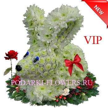 Кролик из живых цветов