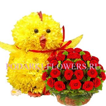 Цыпленок из цветов + корзина из цветов