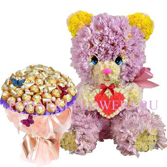 Мишка из цветов с сердцем + букет из конфет