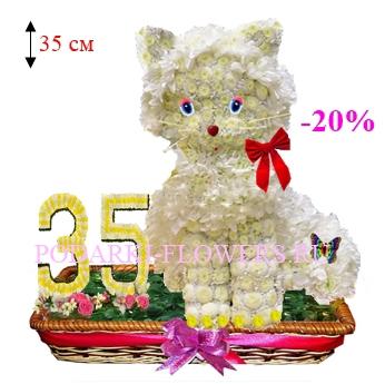Кошка из цветов с цифрами