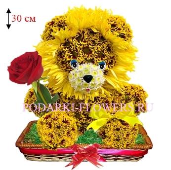 Лев из живых цветов