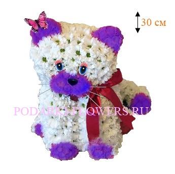 Кошка из живых цветов