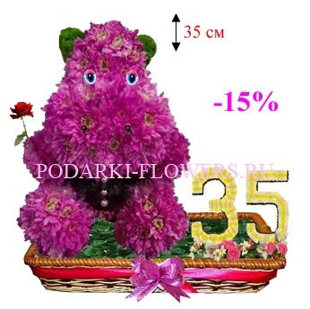 Бегемот из цветов с цифрами