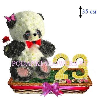 Панда из цветов с цифрами